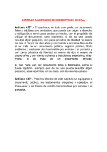 Capitulo I Falsificación de documentos en general arts. 427 y 433.