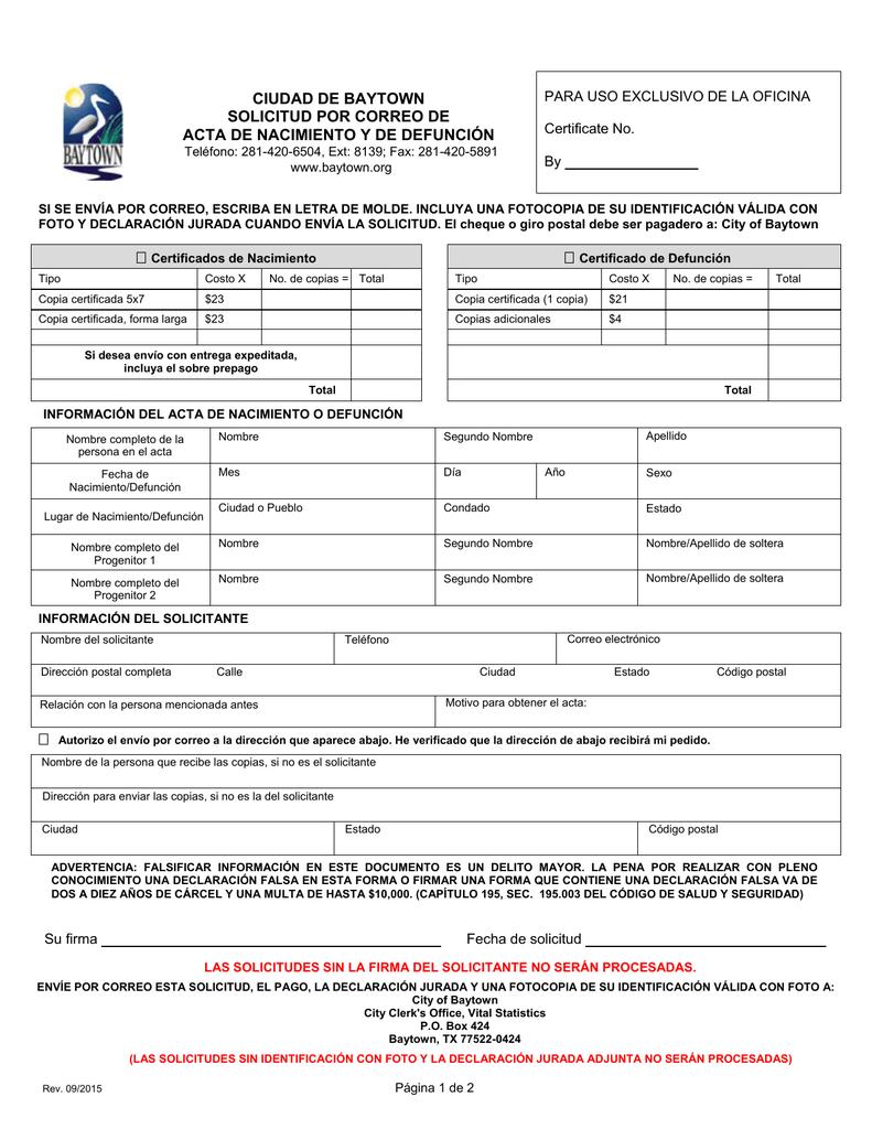 ciudad de baytown solicitud por correo de acta de nacimiento y de