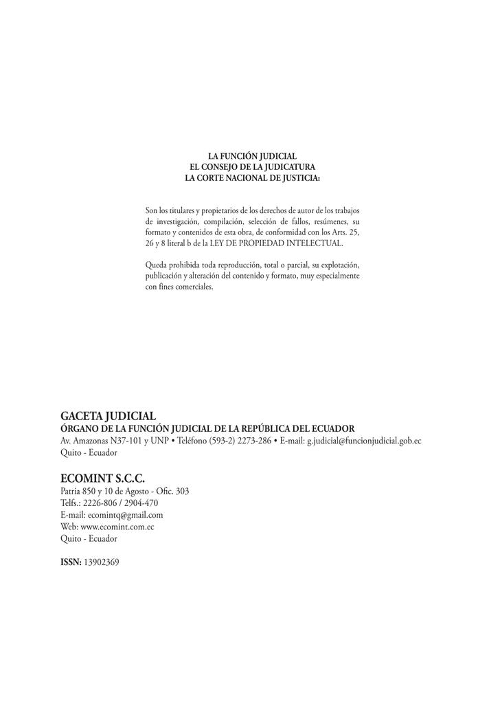 gaceta judicial ecomint scc - Corte Nacional de Justicia