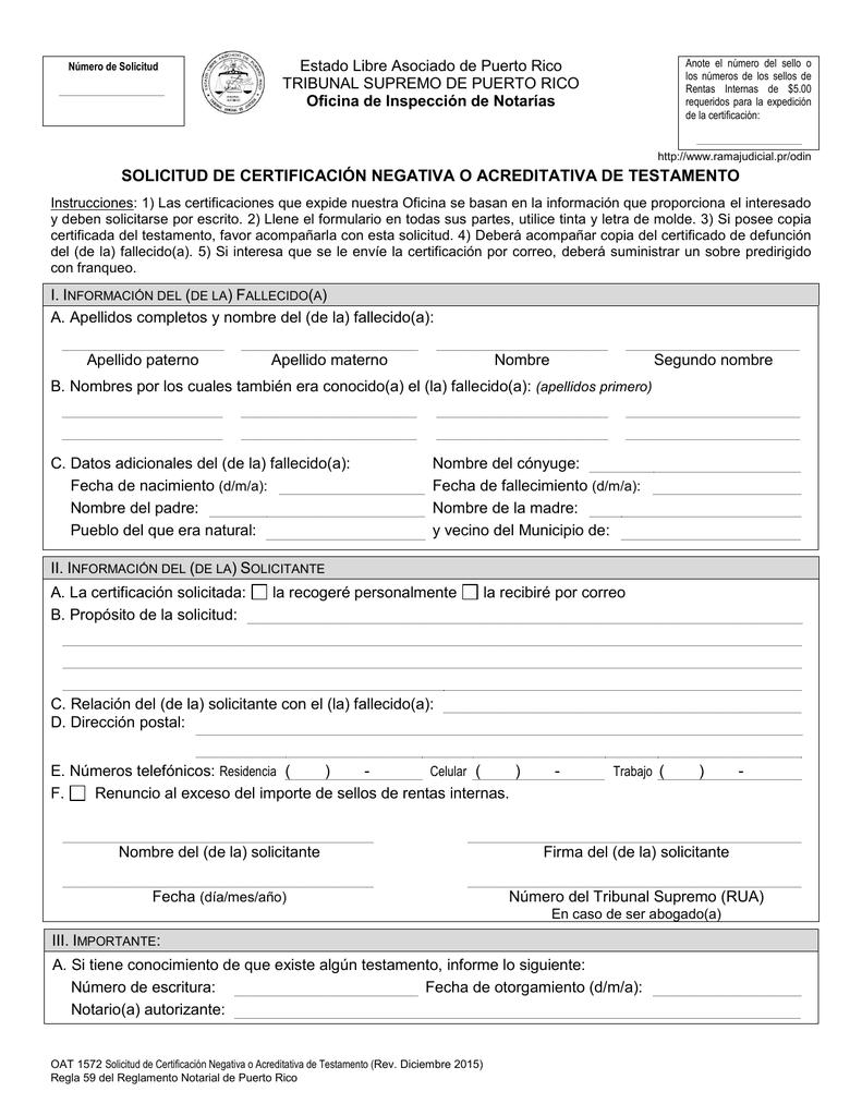 solicitud de certificación negativa o acreditativa de testamento