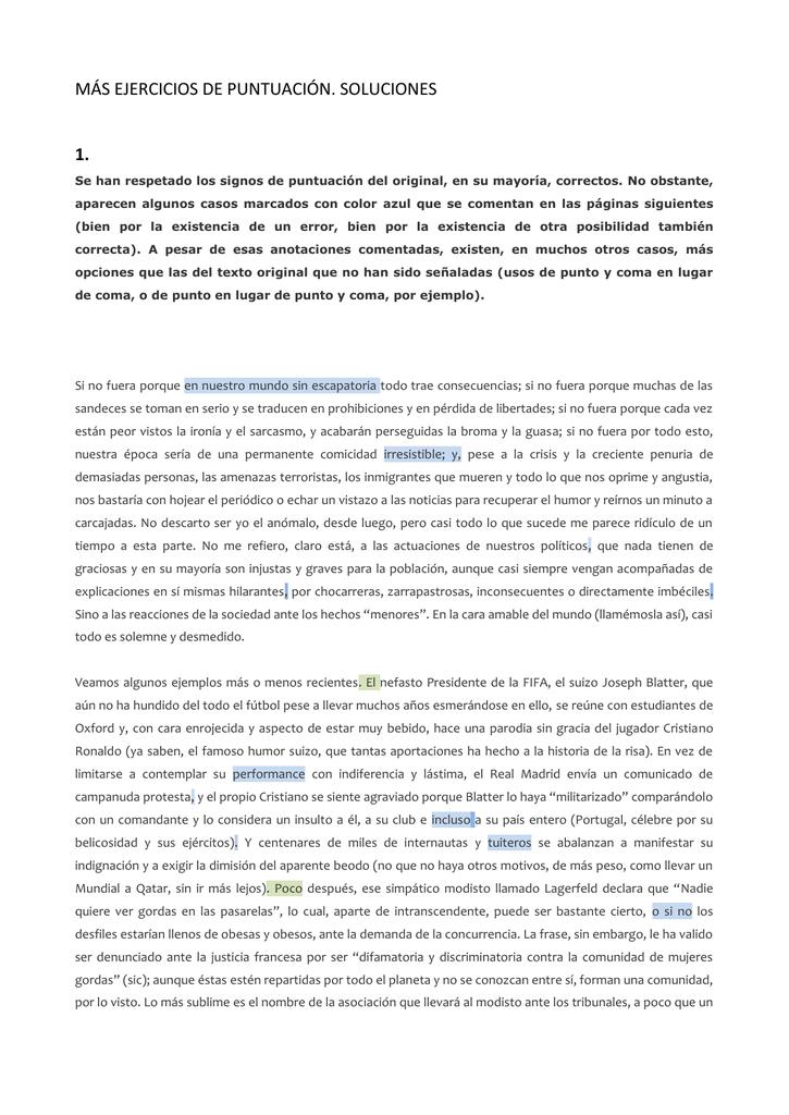 MÁS EJERCICIOS DE PUNTUACIÓN. SOLUCIONES 1.