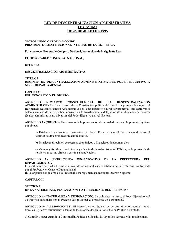 Ley De Descentralizacion Administrativa