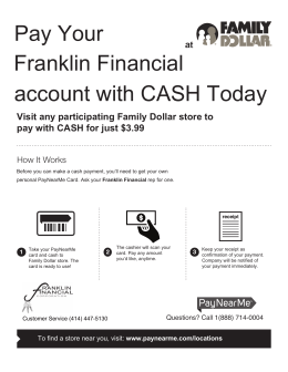 Pay Your Franklin Financial account with CASH Today