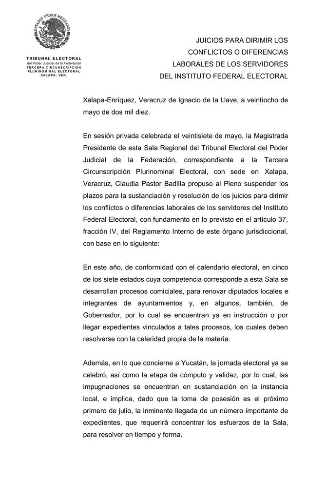 Acuerdo Sx 1 2010 Tribunal Electoral Del Poder Judicial De La