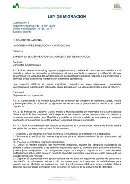 Ley de migracion puce si for Ministerio de migracion