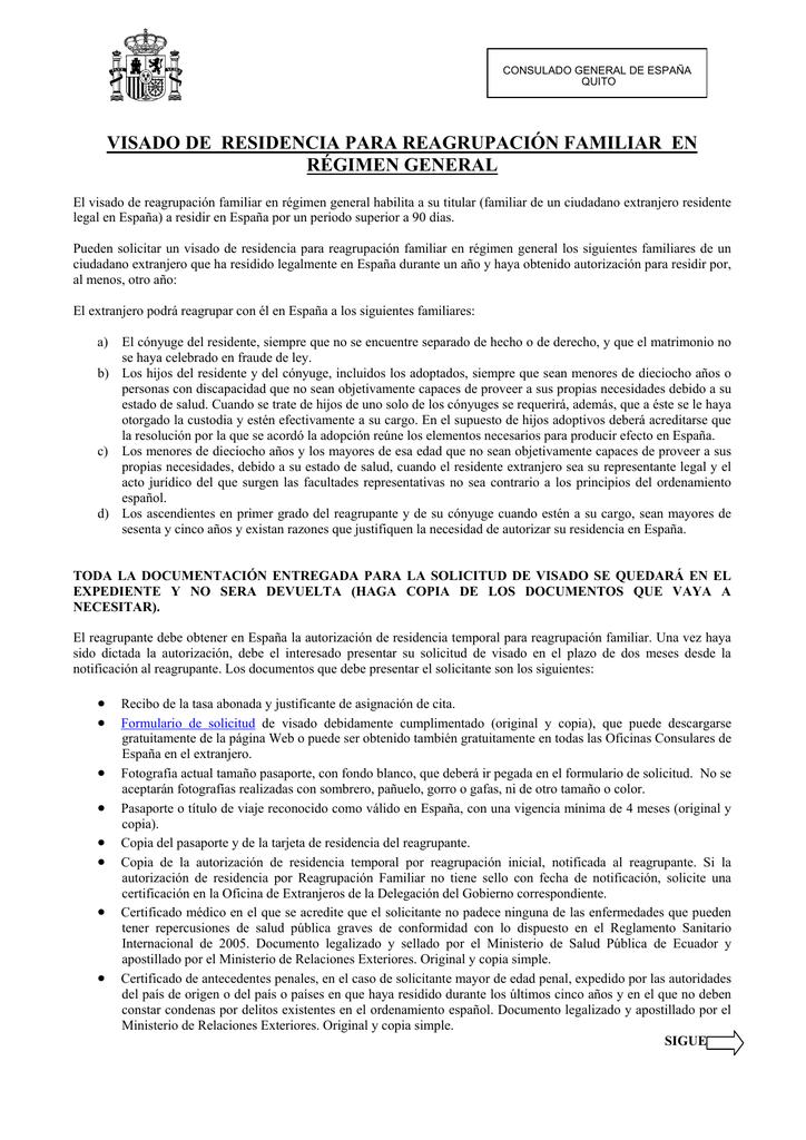 Requisitos Visados Reagrupación Familiar en Regimen General