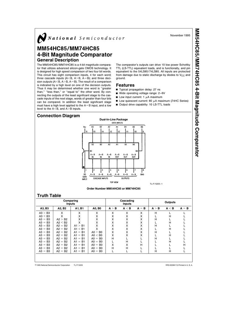 Mm54hc85 Mm74hc85 4 Bit Magnitude Comparator Logic Diagram For