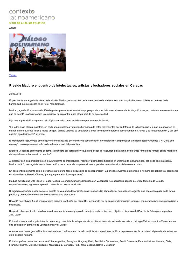 Preside Maduro encuentro de intelectuales, artistas y luchadores