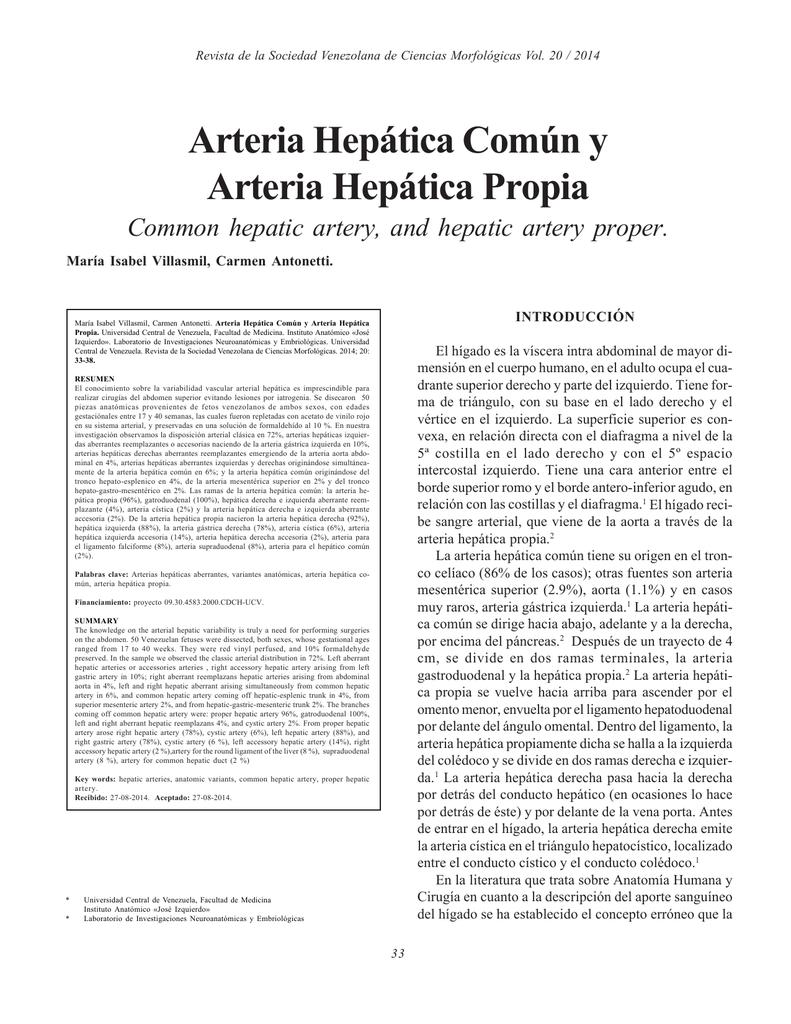 Arteria Hepática Común y Arteria Hepática Propia Common hepatic