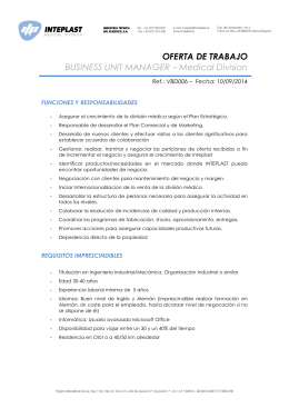 OFERTA DE TRABAJO BUSINESS UNIT MANAGER