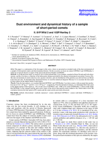 Dust environment and dynamical history of a sample of short