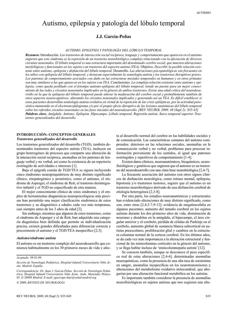 Autismo, epilepsia y patología del lóbulo temporal