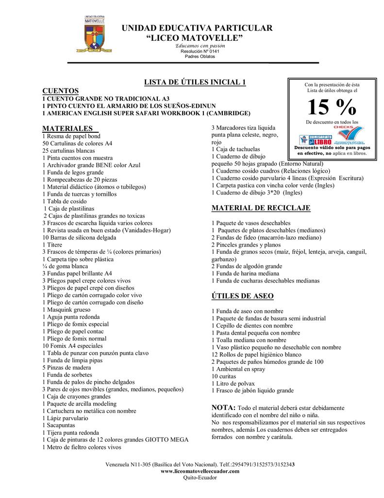 lista de utiles desde inicial a séptimo de basica