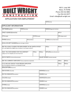application for employment - Built Wright Construction