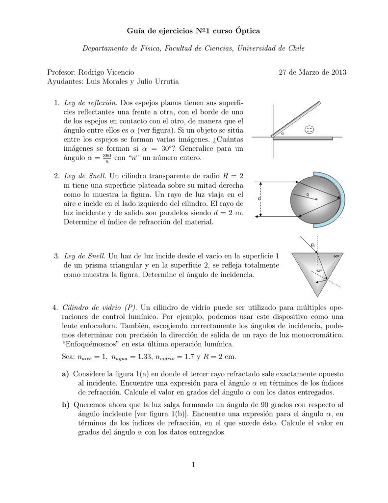 6a1da87116 Gu´ıa de ejercicios No1 curso ´Optica Departamento de Fısica