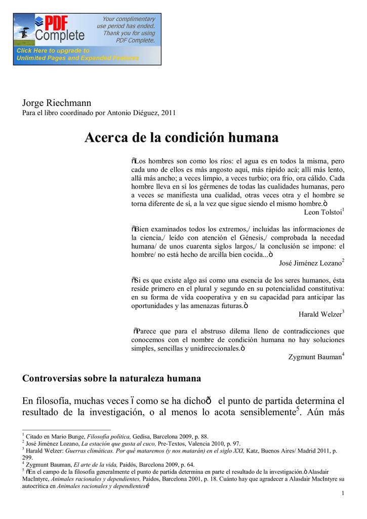 ACERCA DE LA CONDICIÓN HUMANA