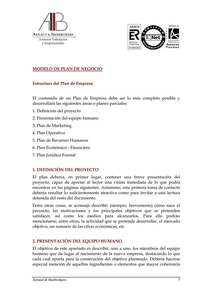 Modelo De Plan De Negocio Estructura Del Plan De Empresa