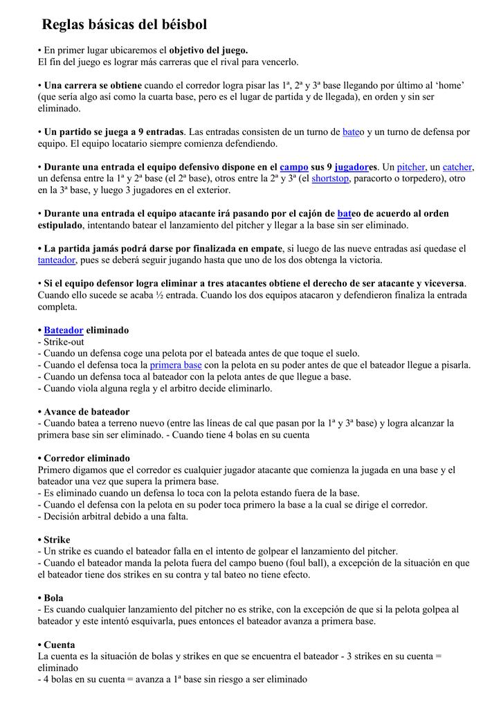 Resumen Reglamento De Beisbol