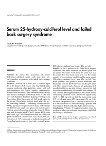 Serum 25-hydroxy-calciferol level and failed back surgery syndrome