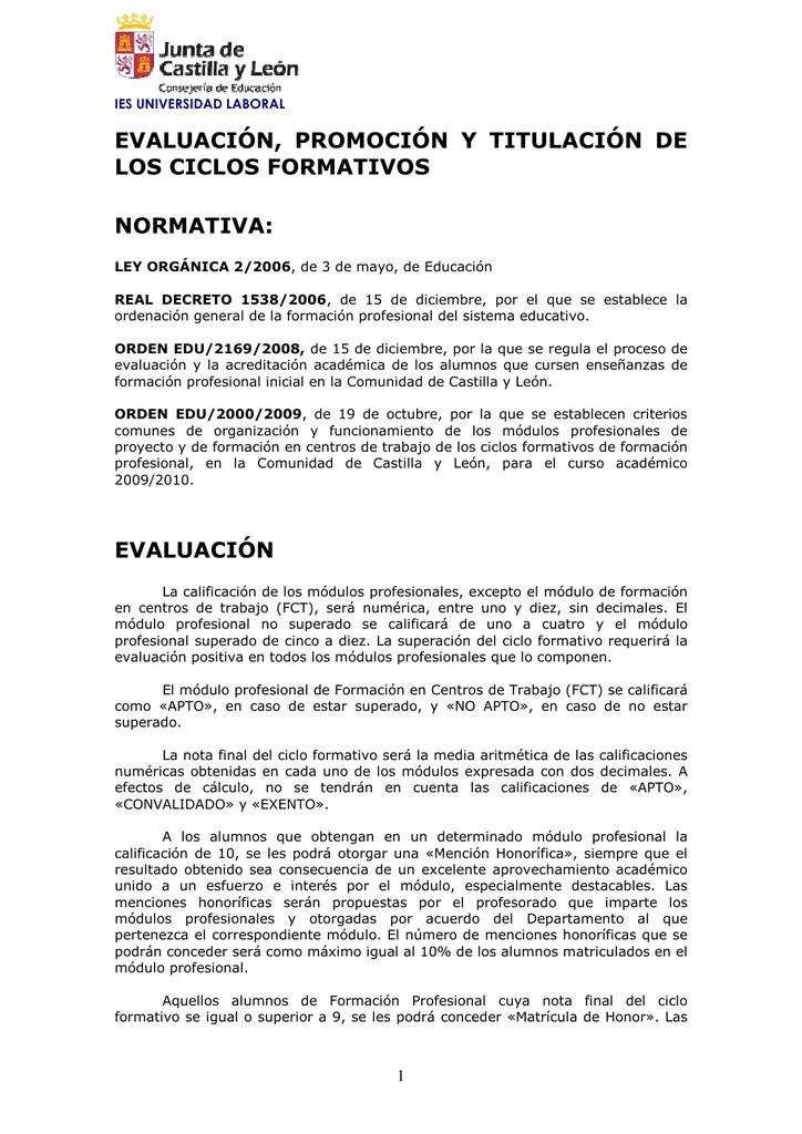 Ciclos Formativos Evaluación Promoción Y Titulación