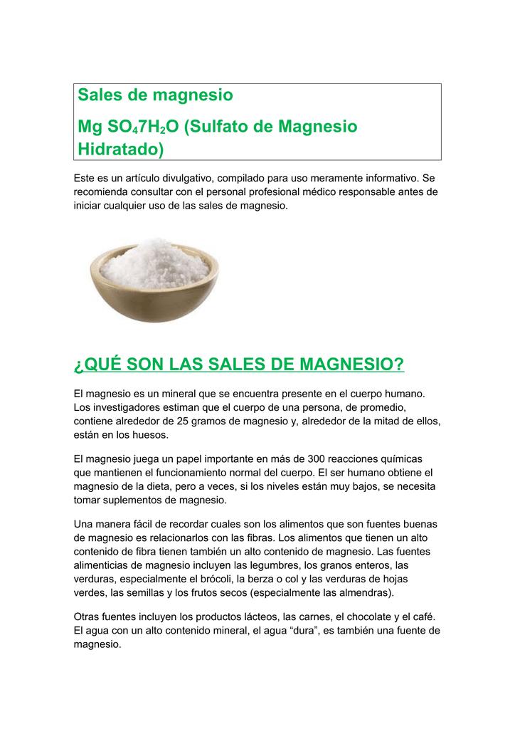 Dieta sulfato de magnesio