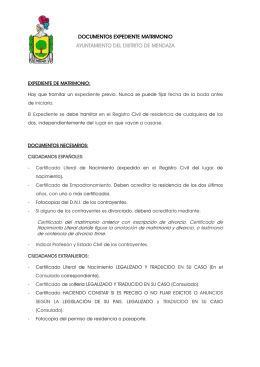 Documentos expediente Matrimonio Civil.