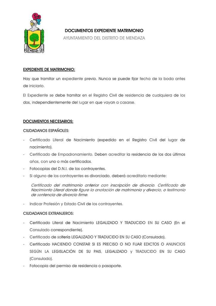 Documentos expediente Matrimonio Civil.