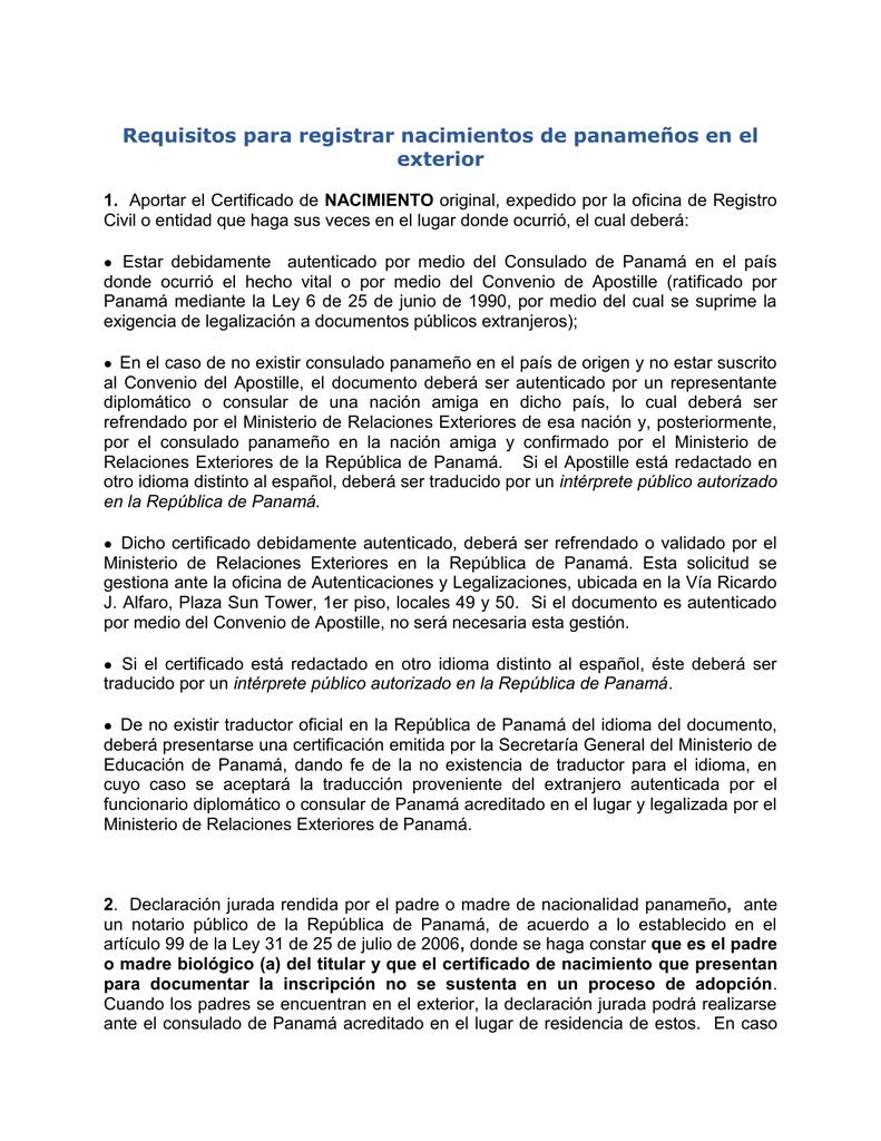 Requisitos para registrar nacimientos de panameños en el exterior