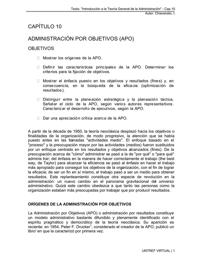 capítulo 10 administración por objetivos (apo)