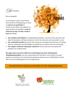 Dear Families, We are thankful! As we prepare to take a