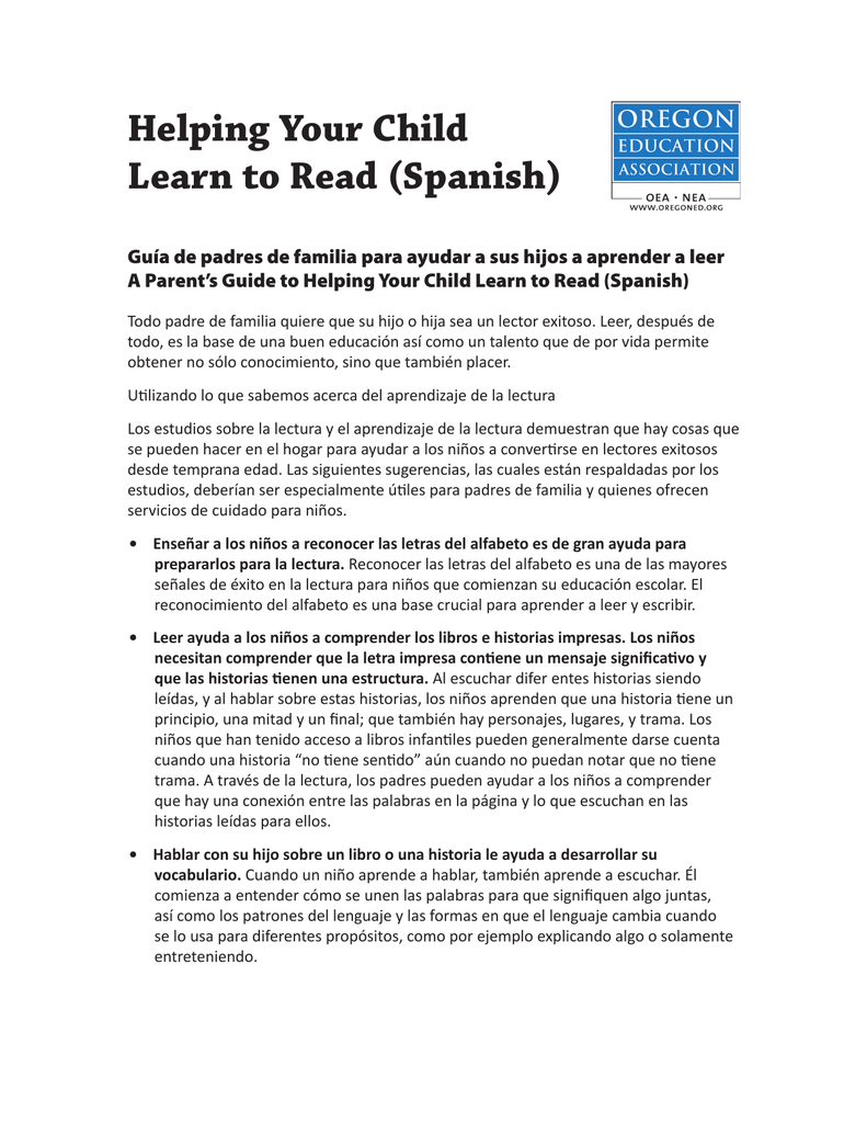 Helping Your Child Learn To Read Spanish