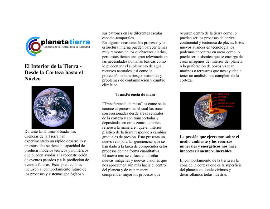 El Interior De La Tierra Desde La Corteza Hasta El Núcleo