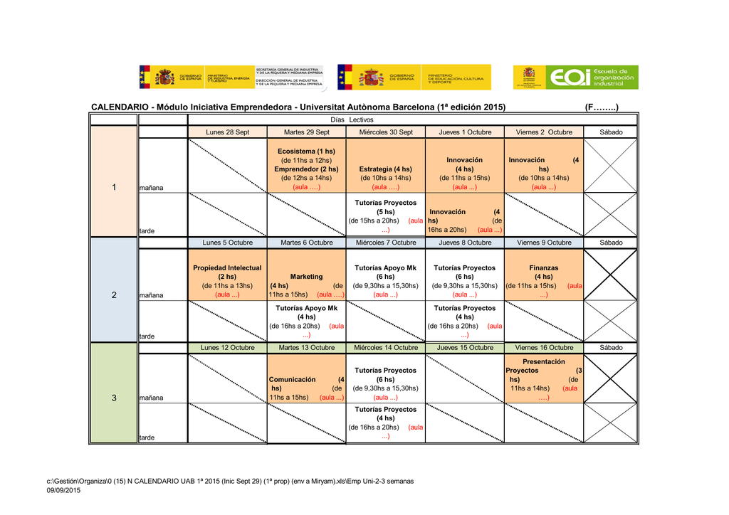 Calendario Uab.0 15 N Calendario Uab 1ª 2015 Inic Sept 29 1ª Prop Env A