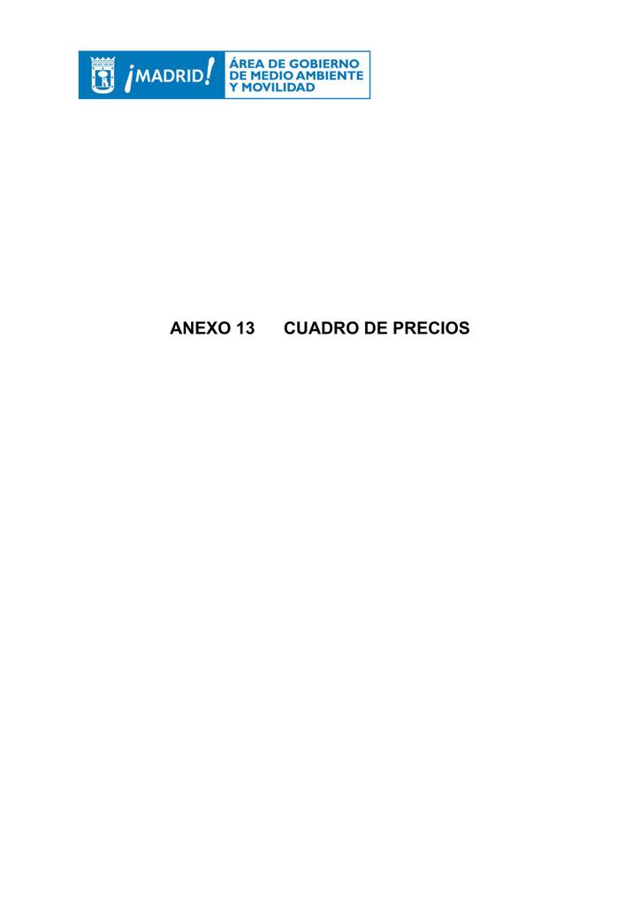 ANEXO 13 CUADRO DE PRECIOS