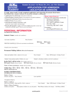 personal information application for admission (solicitud