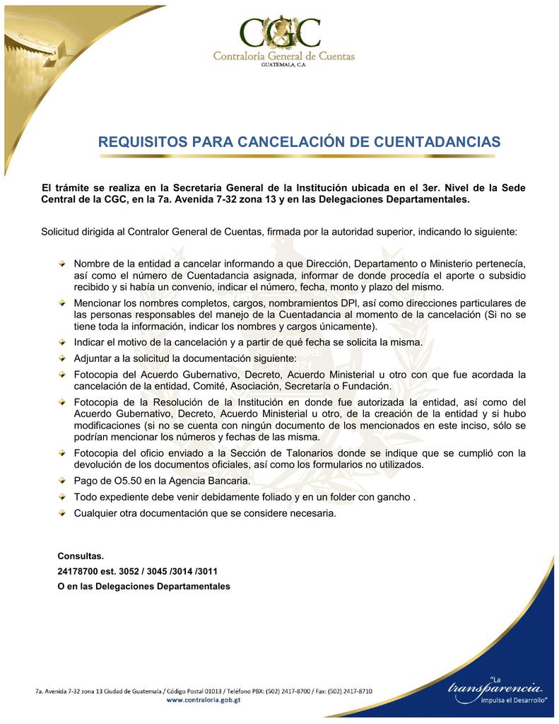 Cancelación de Cuentadancias - Contraloría General de Cuentas
