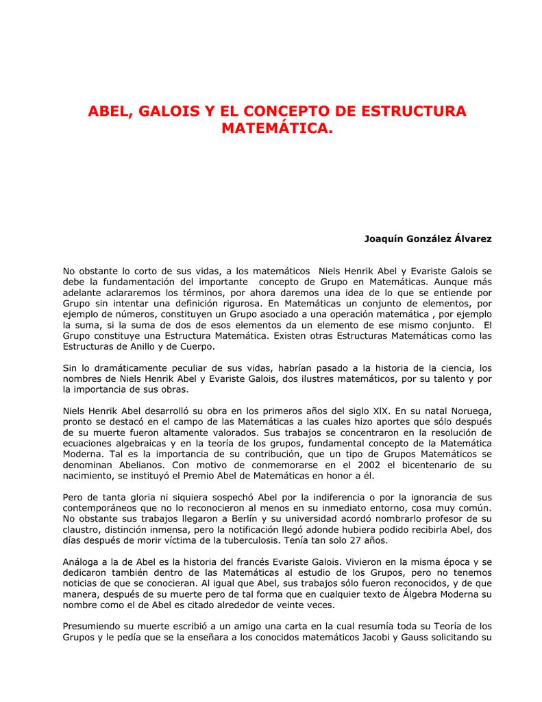 Abel Galois Y El Concepto De Estructura Matemática