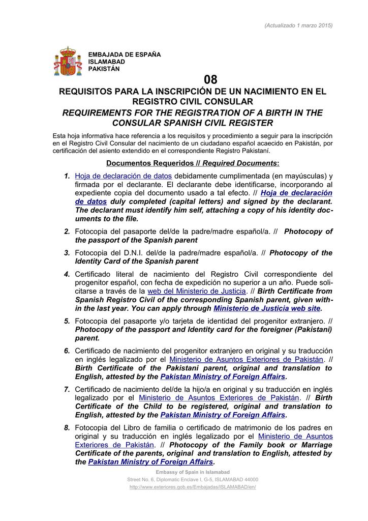 requisitos para la inscripción de un nacimiento en el registro civil
