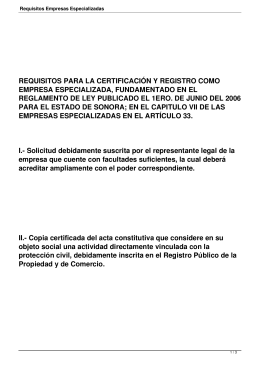 Requisitos Empresas Especializadas