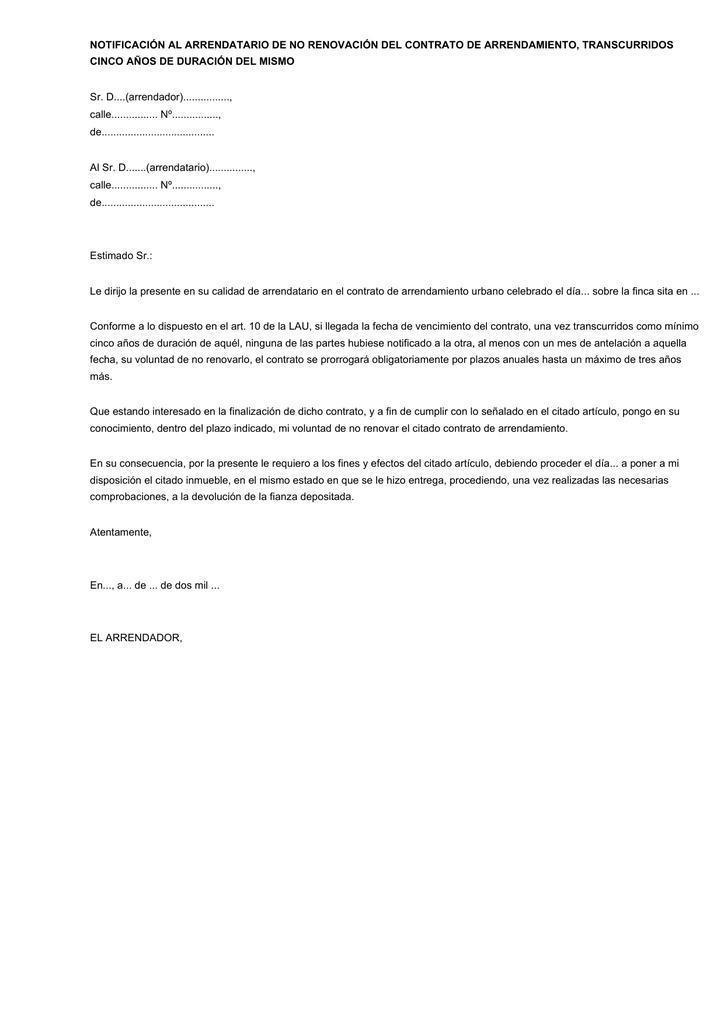 Carta Renovacion Modelo De Renovacion De Contrato De Alquiler Modelo De Informe