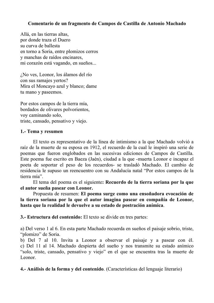 Comentario De Un Fragmento De Campos De Castilla De Antonio