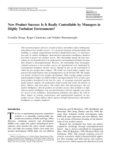 New Product Success: Is It Really Controllable by Managers in