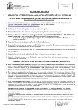 REQUISITOS SOLICITUD INSCRIPCIÓN DEL MATRIMONIO
