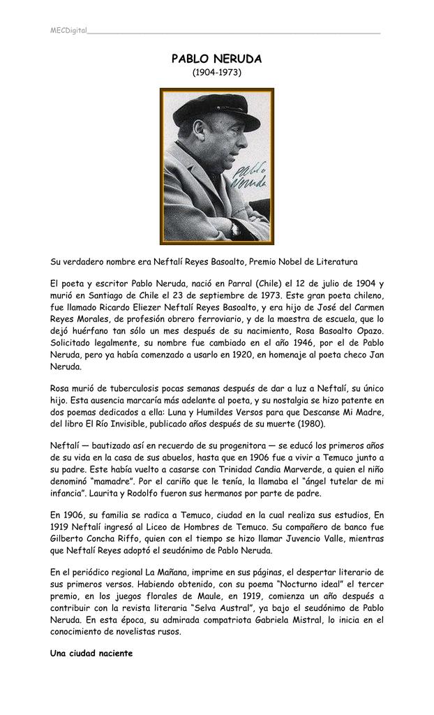 Pablo Neruda Ministerio De Educación Y Cultura