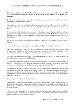 CARTA DE DE LA FEDERACIÓN INTERNATIONAL MÚSICA