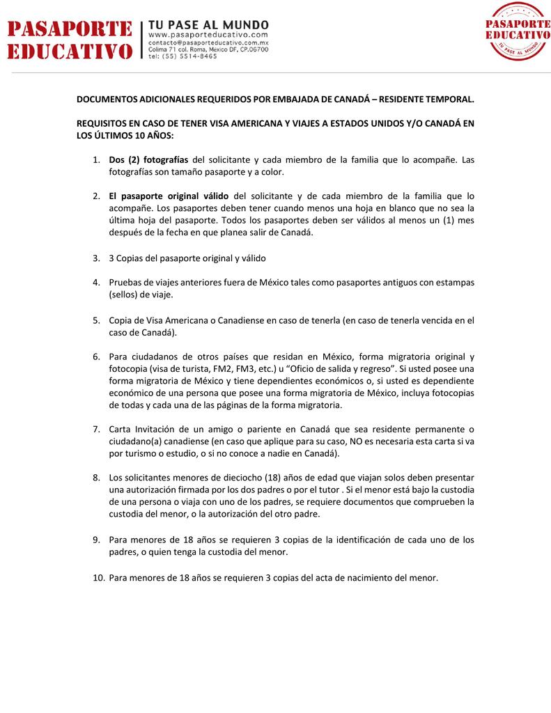 documentos adicionales requeridos por embajada de canadá