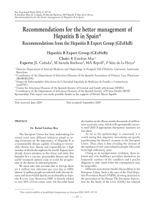 Recommendations for the better management of Hepatitis B in Spain*