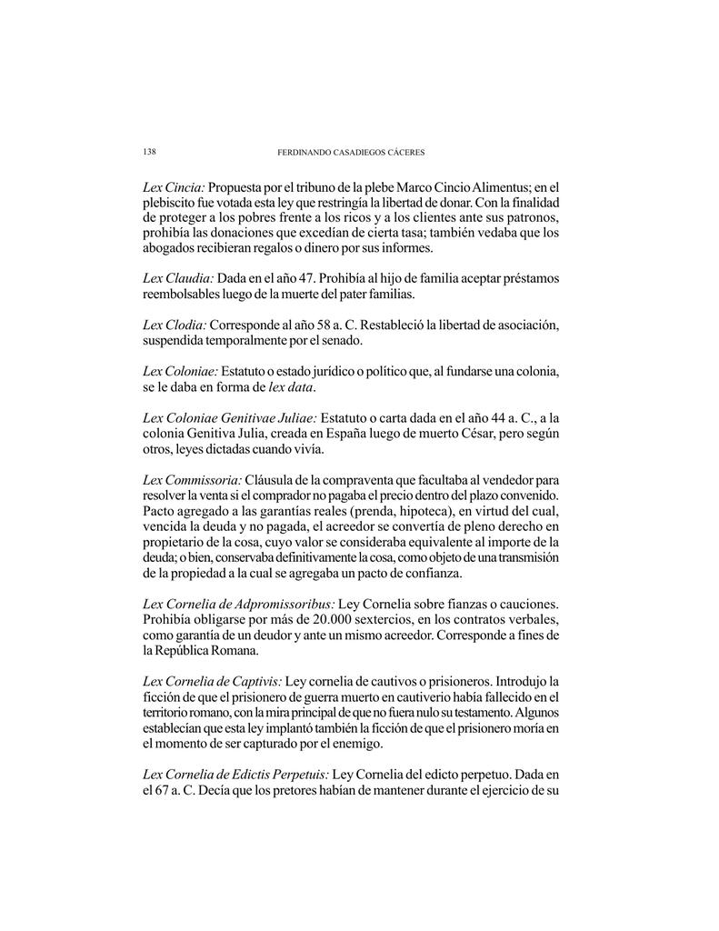 Lex Cincia: Propuesta por el tribuno de la plebe Marco Cincio
