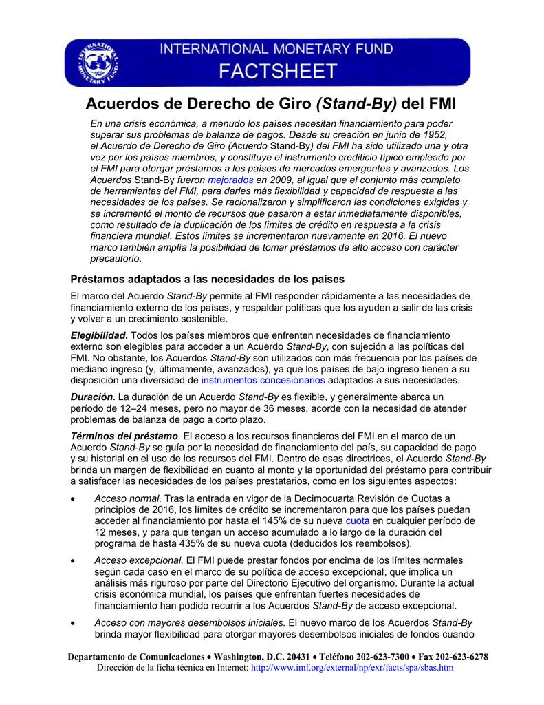 Acuerdos de Derecho de Giro (Stand-By) del FMI