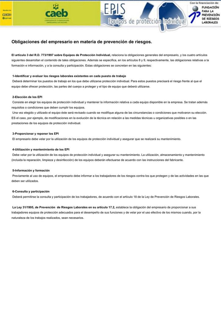 e5d67d6f60149 Obligaciones del empresario en materia de prevención de riesgos.